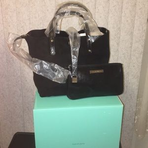 NEW Tiffany &Co.black leather suede reversible bag